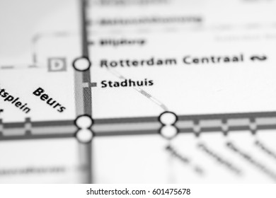 Stadhuis Station. Rotterdam Metro map.