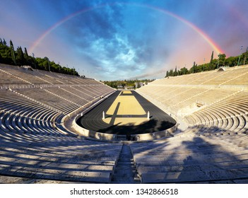 Stadium in Athens with rainbow, Greece