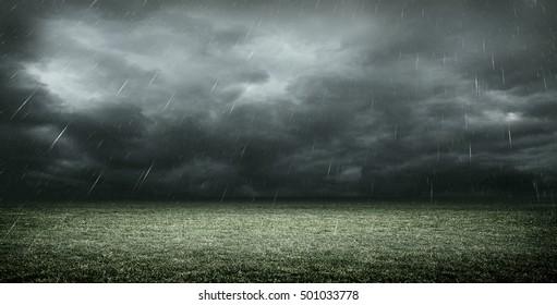 stadium with dark clouds, 3d rendering