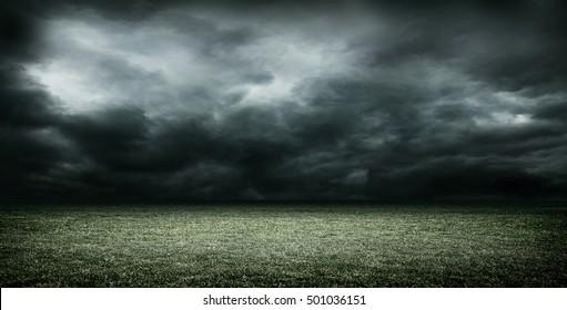 stadium dark clouds 3d rendering