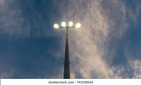 Stadium Lights with Sky in the background