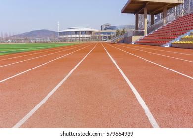 Stadium red runway