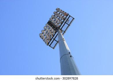 stadium reflector and blue sky