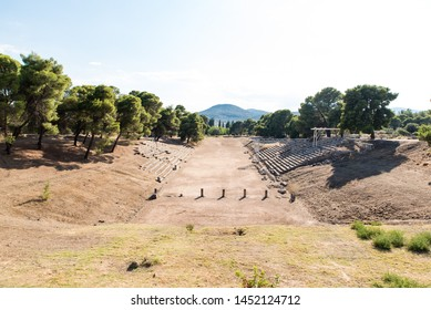 The stadium at the ruins of the sanctuary of Asclepius at the ancient Epidaurys archeological site, Argolis, Greece