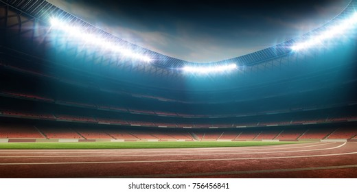 Stadium with running track