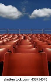 Stadium Seat with Blue Sky Background