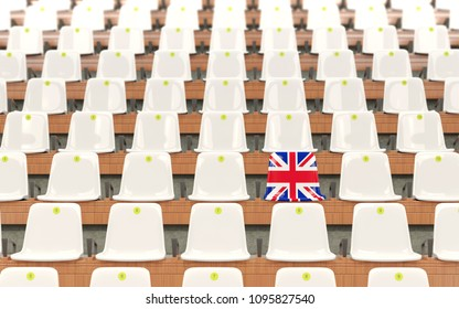 Stadium seat with flag of united kingdom in a row of white chairs. 3D illustration