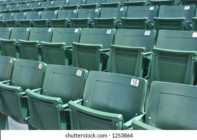 Stadium seats at a sports arena