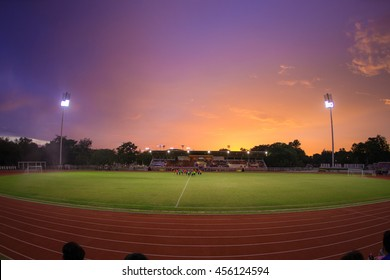 Stadium with sunset