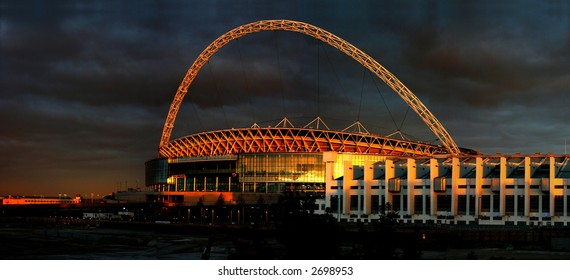 The stadium in the sunset in london.