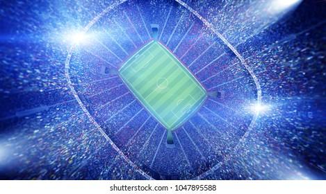 stadium top view 3d rendering