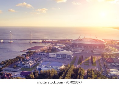 Stadium Zenit Arena, St. Petersburg at sunset, top view