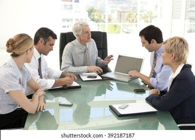 Staff meeting with ceo in business meeting room