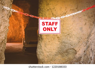 Staff only sigh on chain at entrace