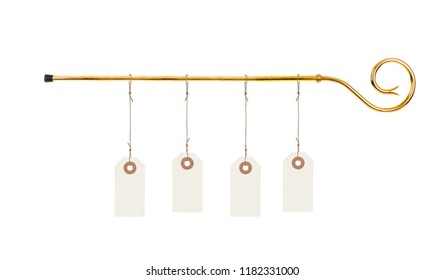 Staff of saint Nicholas with blank price tags isolated on white background