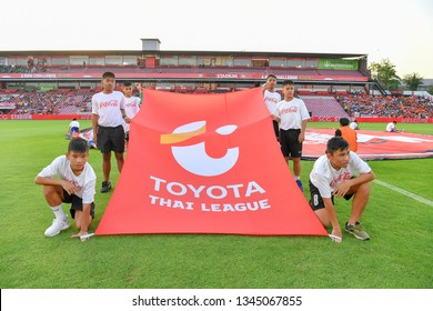 Staff of SCG Muangthong United show a flag during The Football Thai League match between SCG Muangthong United and PT Prachuap F.C.at SCG Stadium on February24,2019 in Nonthaburi, Thailand