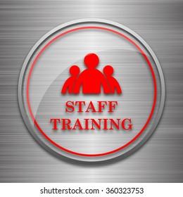 Staff training icon. Internet button on metallic background.