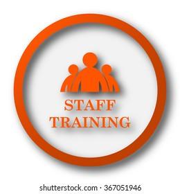 Staff training icon. Internet button on white background.