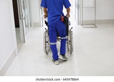 The staff is wheelchair patient with soft focus to make it look animated.