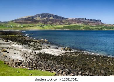 Staffin beach at Isle of Skye, Scotland. Atlantic ocean landscape