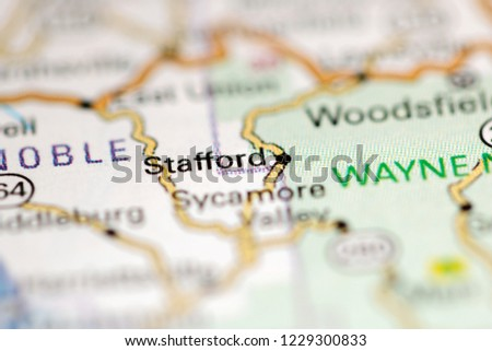 Geography Map Of Ohio.Stafford Ohio Usa On Geography Map Stock Photo Edit Now 1229300833