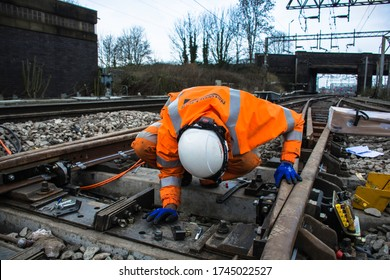 Stafford, Staffordshire / England - December 2018: Railway points replacement at a busy junction on the West Coast Main Line with Network Rail