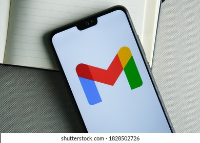 Stafford / United Kingdom - October 6 2020: New rebranded Google Gmail logo seen on the screen of the smartphone.
