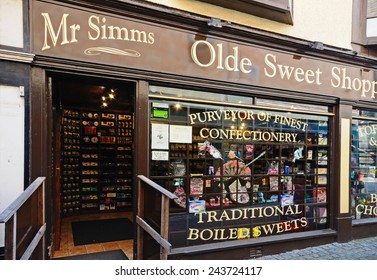 STAFFORD, UNITED KINGDOM - SEPTEMBER 10, 2014 - Mr Simms Olde Sweet Shoppe in the town centre, Stafford, Staffordshire, England, UK, Western Europe, September 10, 2014.