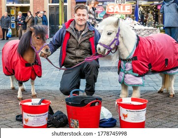 Staffordshire, Leek Uk – December, 03, 2014: Young male volunteer charity worker collecting donations for the phoenix children's foundation posing with two miniature ponies.