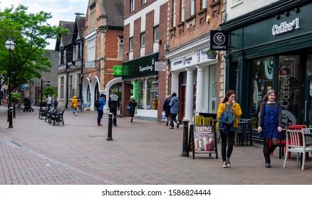 Stafford,Staffordshire/England - 17 June 2019:Shops along Greengate Street in Stafford.