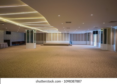 The stage is in the conference room. Stage and room. Empty room and small stage. Empty large conference. hall in hotel. Meeting room. May 12, 2018: Jomtien thani hotel, Jomtien, chonburi, thailand