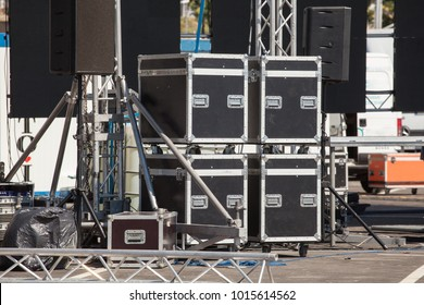 Stage equipment on outdoor stage before concert