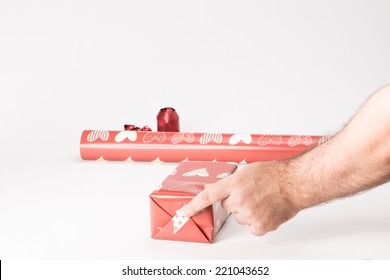 Stage for a gift with red paper