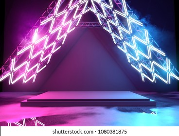 Stage with glowing neon lighting  - background with blank platform for concert or product placement. 3D illustration.
