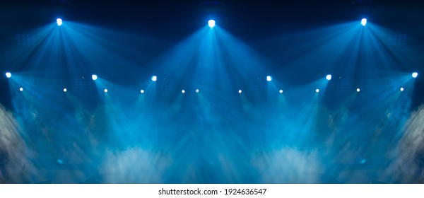 stage light with colored spotlights and smoke, concert and theatre scene