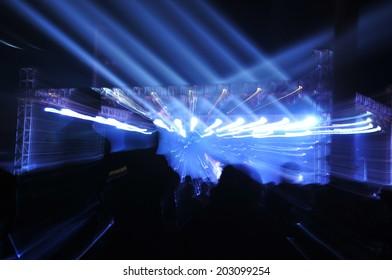 Stage lighting effect in the dark, fuzzy figure