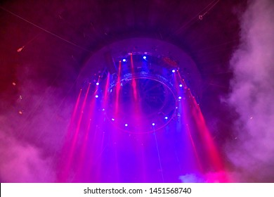 Stage lights. Concert light (Circus illumination). Under the dome of the circus
