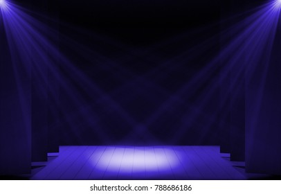 Stage lights ,free stage,concerrt stage .Several projectors on the ceiling. Spotlight strike through the darkness to the floor.