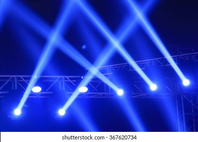 stage lights and metal frame, closeup of photo