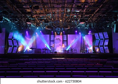 Stage with lights and musical instruments before a concert