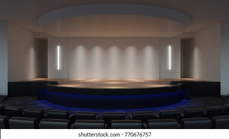 Stage mock up 3d rendering. empty wall screen template