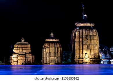 Stage at the Mukteshvara Temple prepared for the yearly dance festival  function dedicated to odissi classical dance and music, Bhubaneswar, Odisha, India