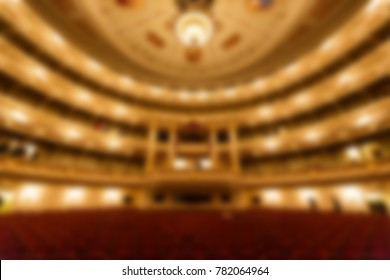 Stage of opera, creative blur backdrop with bokeh effect