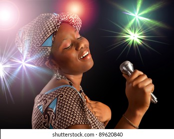 Stage performance of a young Ghanese woman singing