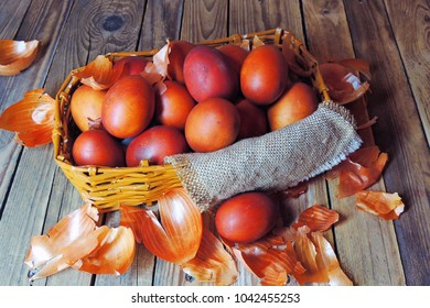 Stage of Preparation of Decor for Easter. Bio and Natural way of painted eggs with fresh leaves and onion shells.