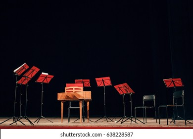 Stage prepared for orchestra performance