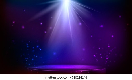 stage spot lighting. magic light. blue and purple background. illustration