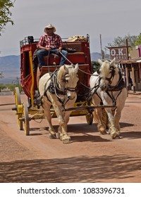 Stagecoach in the city of Tombstone, Arizona, USA. 04/20/2018 . For editorial use only