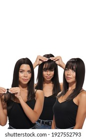 Staged photo of brunette lady which is trying on dark brown bangs with long side strands. Natural looking bangs are fixing on the clip. Girl in black top is showing three phases of hair extension.