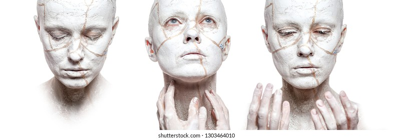 Stages of acceptance. Three woman faces with clay on face isolated over white